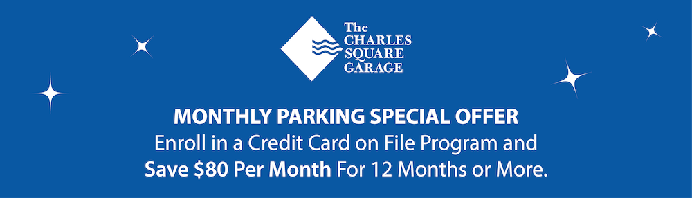 Monthly Parking Special Offer - Enroll in a Credit Card on File Program and Save $80 Per Month for 12 Months or More